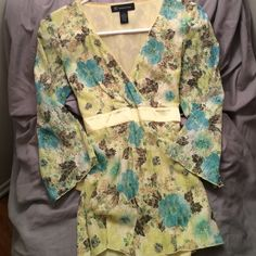 Lace v neck top Yellow floral lace top. INC brand. Worn once. Size small. Yellow tie in back. Yellow and blue floral. INC International Concepts Tops Blouses