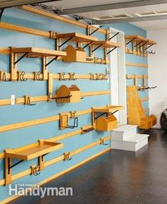 Organize your garage with this wall storage system. You can easily customize it to fit any space and it can hold just about anything.--Yeah, forget the garage, I could use this in my craft room! Garage Wall Storage, Garage Storage Systems, Shop Storage, Storage Ideas, Garage Shelving, Shelving Systems, Storage Place, Bike Storage, Storage Solutions
