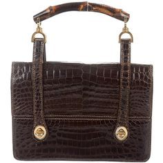 f842468c9a9 Chocolate brown crocodile vintage Gucci top handle bag with gold-tone  hardware