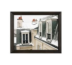 """Montmartre Rooftops in the Snow Framed Print by Rebecca Plotnick, 20 x 16"""", Ridged Distressed Frame, Black, No Mat"""
