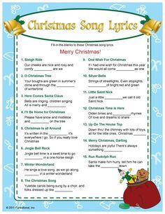 Christmas Song Lyrics Game: