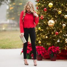 Comfortable outfit.... red top with black bottom . .......