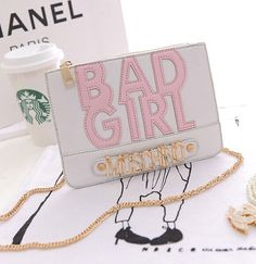 Moschino Bad Girl Leather Clutches Wallet White