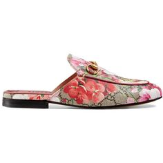 Gucci Princetown Gg Blooms Slipper (8.150.015 IDR) ❤ liked on Polyvore featuring shoes, slippers, pink, slides & mules and women