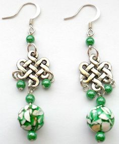 Celtic Knot Earrings w/Czech Glass and Magnesite Drops by CrashsCuriosities, $20.00