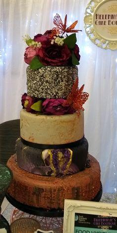 Purple geode and concrete effect wedding cake