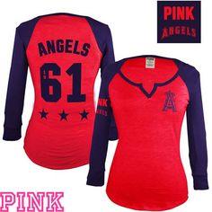 238452dd3 Los Angeles Angels of Anaheim Victoria s Secret PINK® Split Neck Raglan Tee  - MLB.