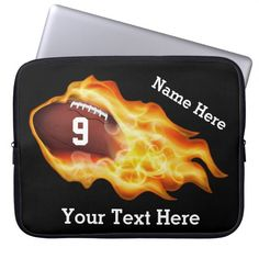 Personalized Football Laptop Cases with three Text Templates for YOUR TEXT. Personalized Football Gifts CLICK HERE: http://www.zazzle.com/littlelindapinda/gifts?cg=196532339247083789&rf=238147997806552929*  Type in his Jersey Number and Name and any text you wish. Good Football Christmas Gifts for Players, football fans and lovers. Lots of matching football accessories for boys and men. ALL of Little Linda Pinda Designs CLICK HERE: http://www.Zazzle.com/LittleLindaPinda*/