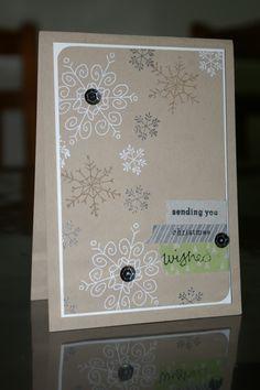Stampin' Up - Michelle Johnstone - Endless wishes case of Michelle Last  Christmas card in Crumb Cake, white & silver embossed snowflakes, All is calm washi tape http://www.stampinup.net/esuite/home/michellejstamping/