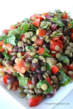 Bean Lentil Salad with Cumin-Lime Dressing The Garden Grazer: Black Bean Lentil Salad with Cumin-Lime Dressing - skip the tomato for true AIP.The Garden Grazer: Black Bean Lentil Salad with Cumin-Lime Dressing - skip the tomato for true AIP. Lentil Recipes, Vegetarian Recipes, Cooking Recipes, Healthy Recipes, Mixed Veggie Recipes, Salade Healthy, Cold Lunches, Clean Eating, Healthy Eating