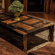 200 year old door made into a coffee table.  #brandreserveinc #coffeetime #customfurniture #furniture #interiordesign