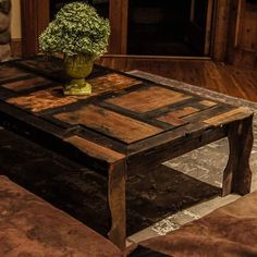 200 year old door made into a coffee table.  #brandreserveinc #coffeetime #customfurniture #furniture #interiordesign