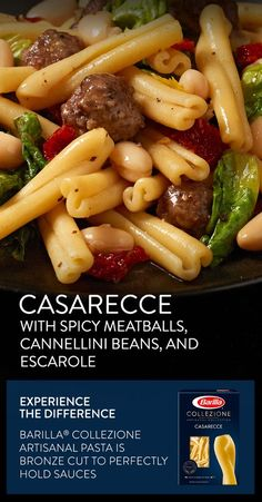 Perfectly al dente Collezione Casarecce balances the bold flavors in spicy meatballs, cannelini beans and escarole. Save this recipe for a delicious meal you can enjoy any time of year.