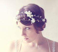 double flower tiara bridal woodland hair crown  by whichgoose, $65.00