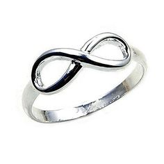 'Infinity' Solid Sterling Silver Band, Ring, Size 6.75