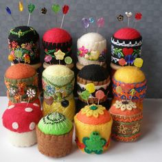 decorated felt pin cushions, made in different sizes and many colors.