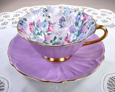 Tea Cups ❖ Teapots ❖ Milk Glass ❖ Pretty Vintage China by TeacupsAndOldLace Tea Cup Set, My Cup Of Tea, Tea Cup Saucer, Antique Tea Cups, Vintage Cups, Vintage Teapots, Tea Sets Vintage, Vintage Dishes, Vintage China