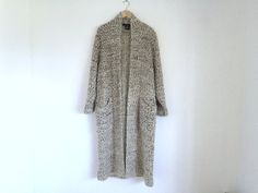 Oversized Boho Sweater / Beige with Brown and Gray Speckles Woven Sweater Coat with Belt / Knitted Full Length Cardigan Duster Jacket / M/L  This is