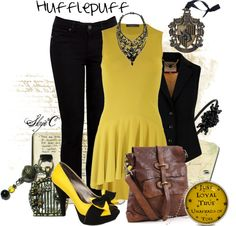 """Hufflepuff Inspired Outfit"" by rubytyra on Polyvore"