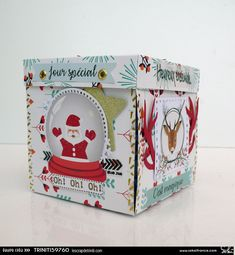 Box Noel, Boite Explosive, Exploding Box Card, Boxed Christmas Cards, Pop Up Box Cards, Mini Albums Scrap, Kirigami, Stamping Up, Birthday Cards