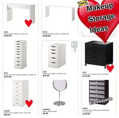Here are some furniture pieces that can be purchased from IKEA that can be used for your makeup storage depending on the look you are going for.  If you are interested in vanities then a IKEA desk would be great.  If you are look for a drawer type of storage then the Alex units work great!      #OrganizerLove