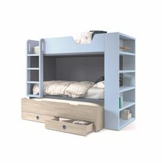 Bunk Beds With Drawers, Bunk Beds With Storage, Bed Storage, Storage Ideas, Kids Bed Design, Dispositions Chambre, Bed For Girls Room, Loft Bunk Beds, Bunk Bed Designs