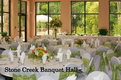 Stone Creek in Flat Rock has the space and menu to fit your needs or intimate gatherings to celebratory events. Stone Creek, Flat Rock, Floor To Ceiling Windows, Small Groups, Banquet, Special Events, Table Settings, Table Decorations, Places