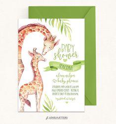 Giraffe Shower Invitation / DIGITAL / Giraffe Baby Shower /