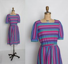 vintage 80s striped dress with belt by Illusions