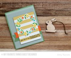 In My Thoughts Card by Amy Tsuruta featuring Lisa Johnson Designs Spring Wreath stamp set and Die-namics #mftstamps
