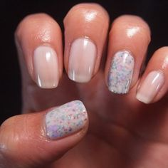 Foggy glitter! Paint a base coat of a light color, then glitter, then a top coat of the same base. Use OPI Don't Touch My Tutu! and Color Club Wish Upon A Rock-star