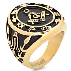 Gold Color Stainless Steel Masonic Freemason Square & Compass Men's Ring #GemStoneKing #RinfForMen #GiftForHim #Compass