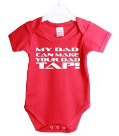 http://hotlistsports.com My Dad Can Make Your Dad Tap Mma Ufc Funny Babygrow Baby Shower Gift Suit 3/6 Months Red Vest White Print-3/6 Months Red-White Print | What The Athletes are Sporting