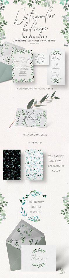 Watercolor Foliage Design Set by nantia on @creativemarket
