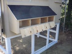"External Nest Boxes - flip DOWN door (stays open) not a roof that LIFTS up that you have to hold open.make hinged door flush with floor of nest box for ""sweep out"" option. Chicken Pen, Chicken Coup, Best Chicken Coop, Chicken Coop Plans, Building A Chicken Coop, Chicken Tractors, Chicken Garden, Backyard Chicken Coops, Chickens Backyard"