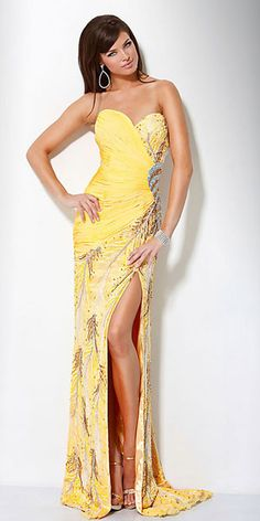 sexy yellow prom dress