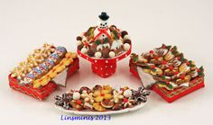 Christmas goodies in miniature by Linda Cummings.