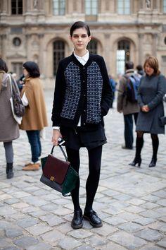 Courtin-Clarins Sister in Purple - Paris Fashion Week Street Style Spring 2013 - Harper's BAZAAR