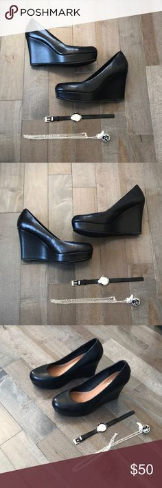 Black Wedges Black Genuine Leather Aldo wedges. Gently used condition. Some signs of wear, but still have a lot of life left in them! Item comes from a smoke free home. Accessories not included. Aldo Shoes