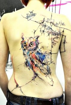 Amazing owl watercolor tattoo on full back for girls - tree tattoo