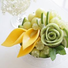 Image may contain: flower and food Fruit Presentation, Fruits Decoration, Fruit Creations, Watermelon Carving, Watermelon Art, Fruit And Vegetable Carving, Food Carving, Edible Food, Edible Art
