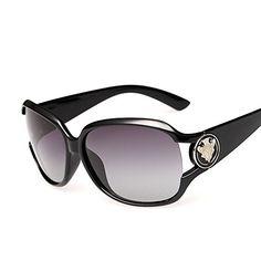 434e857d615 VeBrellen Vintage Plastic Frame Sun Glasses Women Polarized Sunglasses Men Driving  Glasses With Metal Shield Decorate Black 48     You can find more details  ...