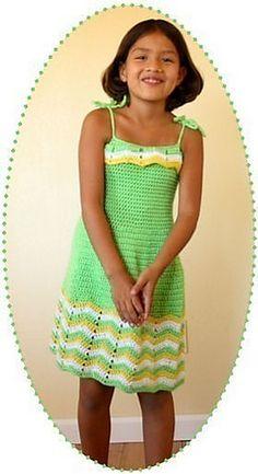 Summer dress trio, zig zag dress crochet pattern girls sizes 2 to 8