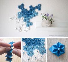 Collage Wanddeko aus Papierblumen