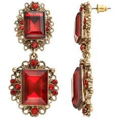 GS by gemma simone Royal Jewels Collection Tudor Drop Earrings ($20) ❤ liked on Polyvore featuring jewelry, earrings, red, earring jewelry, red jewelry, imitation jewellery, jewels jewelry and imitation jewelry