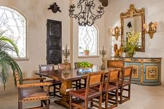 Cabo San Lucas, Mexico Spanish colonial style dining room