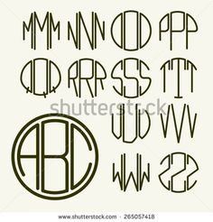 Set 2 template letters to create a monogram of three letters inscribed in a hexagon in Art Nouveau style