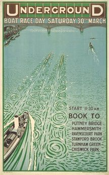 The Boat Race London Underground poster - 1912 Vintage Advertising Posters, Vintage Travel Posters, Vintage Advertisements, Travel English, British Travel, London Underground, Chiswick Park, London Transport Museum, Public Transport