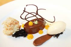 Manjari Chocolate Cremeux, Banana Caramel Microwave Spoge Cake, Passion Fruit Fluid Gel, Greek Yogurt Banana Sorbet by Pastry Chef Antonio Bachour, via Flickr