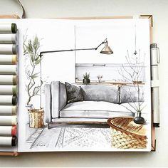 Interior sketch by tatia chel archisketcher art a Croquis Architecture, Interior Architecture Drawing, Drawing Interior, Architecture Design, Architecture Sketchbook, Roman Architecture, Rendering Interior, Interior Design Sketches, Sketch Design